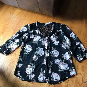 Three quarter sleeve tie rose sheer blouse
